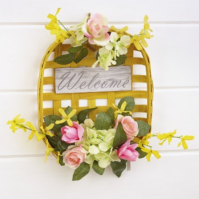 Lakeside Floral Farmhouse Wall Hanging Basket with Sentimental Message