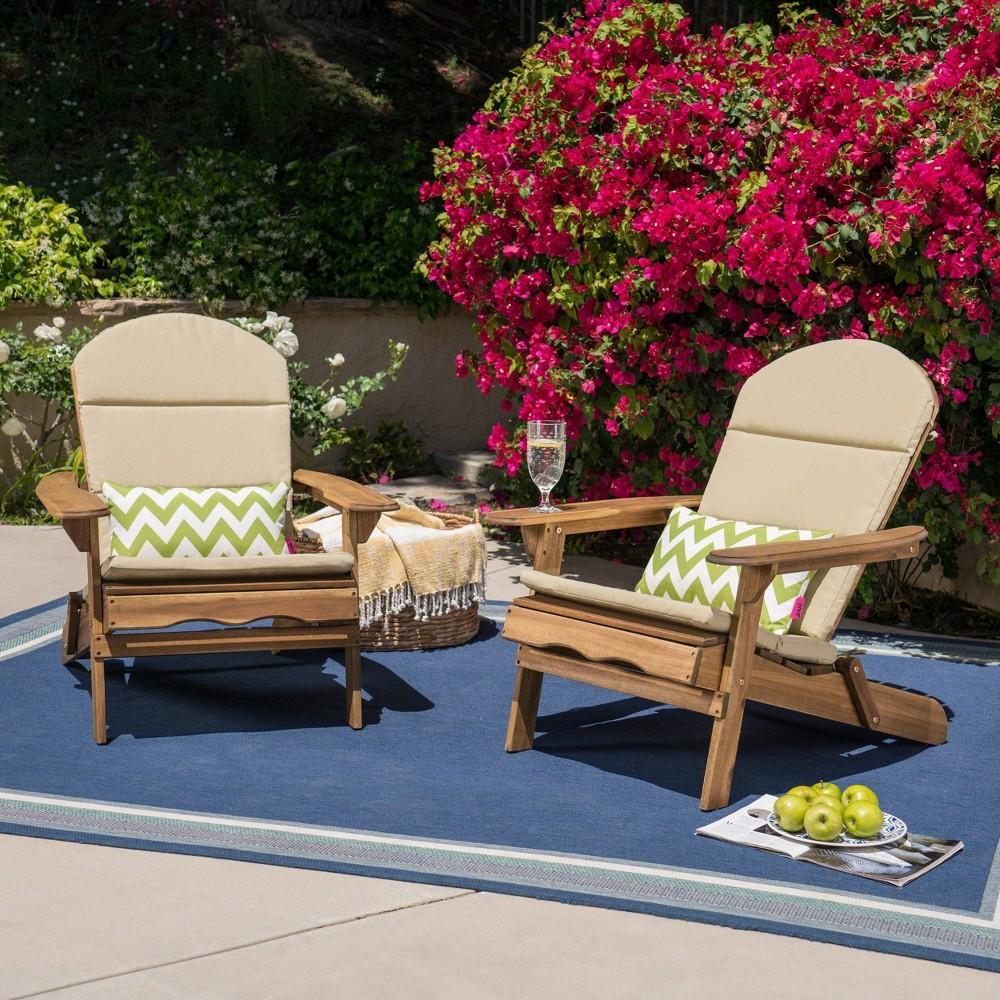Malibu 2pk Acacia Wood Adirondack Chairs - Natural/Khaki (Natural/Green) - Christopher Knight Home