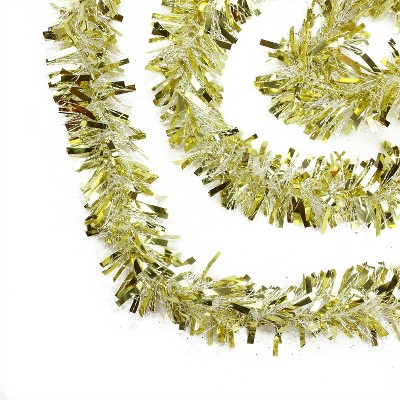 """Northlight 50' x 4"""" Unlit Gold/White Wide Cut Tinsel Christmas Garland"""