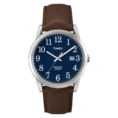 Men's Timex Easy Reader Watch with Leather Strap - Silver/Blue/Brown TW2P759009J