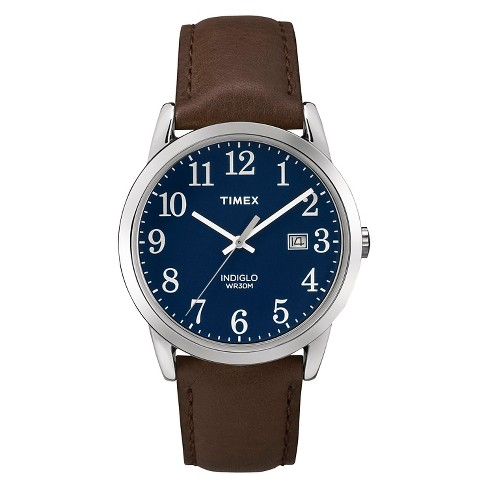 Men's Timex Easy Reader® Watch with Leather Strap - Silver/Blue/Brown TW2P759009J - image 1 of 1