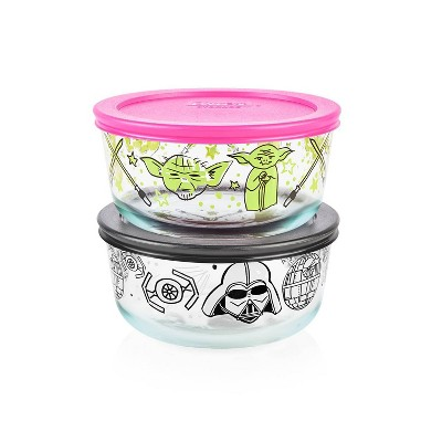 Pyrex 4pc 4 Cup Round Decorated Glass Food Storage Set - Star Wars Yoda and Darth Vader