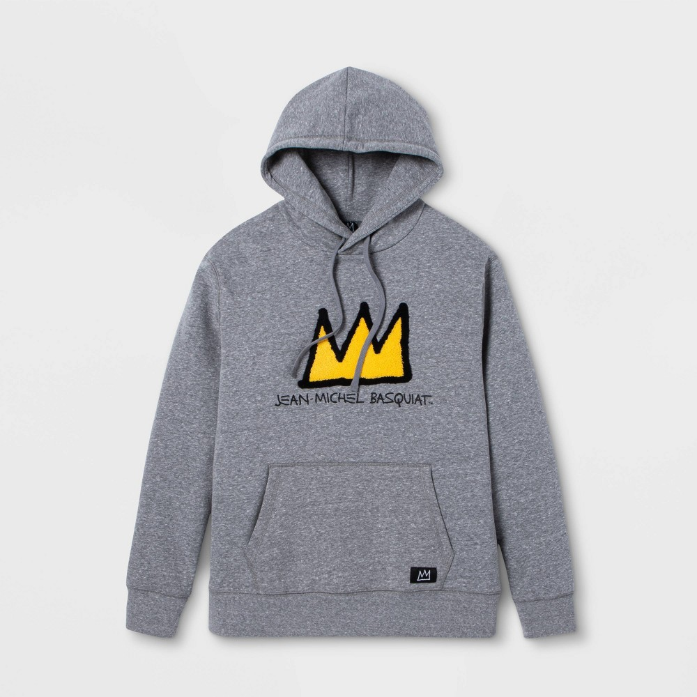 Image of Men's Jean-Michel Basquiat Crown Long Sleeve Graphic Sweatshirt - Charcoal Heather 2XL, Men's, Gray