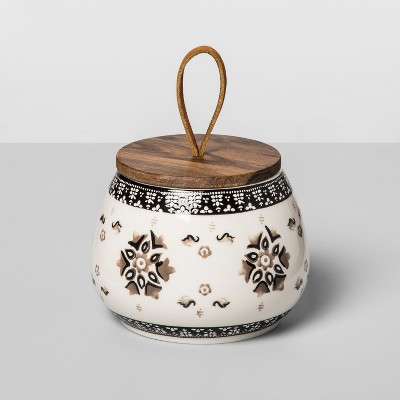 20oz Stoneware Floral Canister Gray - Opalhouse™