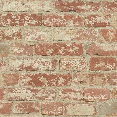RoomMates Stuccoed Brick Peel And Stick Wallpaper Red