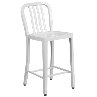 "Flash Furniture Commercial Grade 24"" High Metal Indoor-Outdoor Counter Height Stool with Vertical Slat Back"