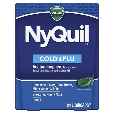Vicks NyQuil Cold & Flu Nighttime Relief LiquiCaps - 24ct