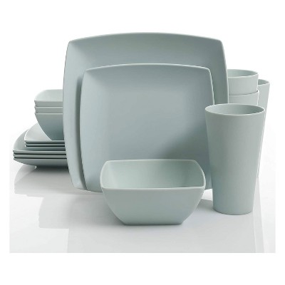 Gibson 99898.16R Home Soho Grayson Square Melamine Everyday 16 Piece Reactive Glaze Dinnerware Set Plates, Bowls, and Cups, Dishwasher Safe, Mint