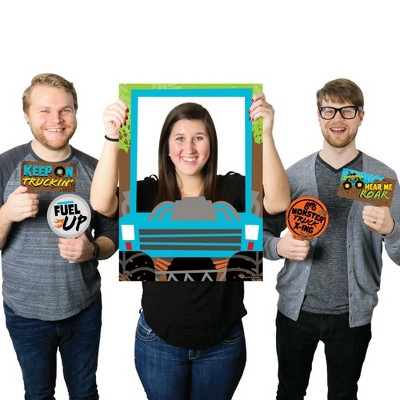 Big Dot of Happiness Smash and Crash - Monster Truck - Boy Birthday Party Selfie Photo Booth Picture Frame and Props - Printed on Sturdy Material