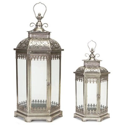 Melrose Set of 2 Antique Style Silver Decorative Glass Pillar Candle Lanterns 34""