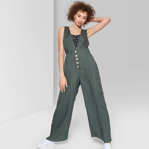 Women's Striped Sleeveless Deep V-Neck Button Front Jumpsuit - Wild Fable™ - image 1 of 3