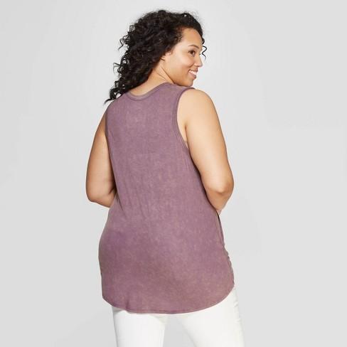 b48bbac164d6b Women s Plus Size Love You To The Moon   Back Scoop Neck Tank Top - Grayson  Threads (Juniors ) - Purple   Target