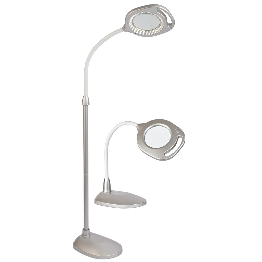 Image of 2-In-1 Led Floor Lamp Silver (Includes Energy Efficient Light Bulb) - OttLite