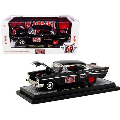 """1957 Chevrolet 210 Hardtop """"Marvel Mystery Oil"""" Black Limited Edition to 7000 pieces 1/24 Diecast Model Car by M2 Machines"""