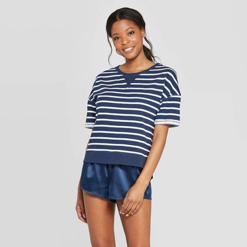 Women's Striped Brushed Fleece Short Sleeve Sleep T-Shirt - Stars Above™ Blue - image 1 of 2