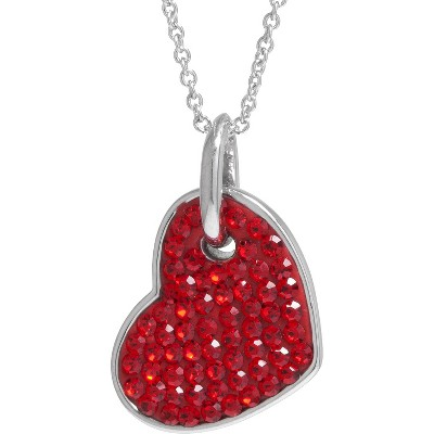 "Women's Silver Plated Crystals Heart Pendant - Red/Silver (18"")"