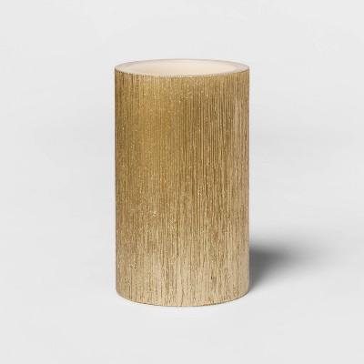 "5""x 3"" LED Unscented Metallic Gold Pillar Candle - Threshold™"