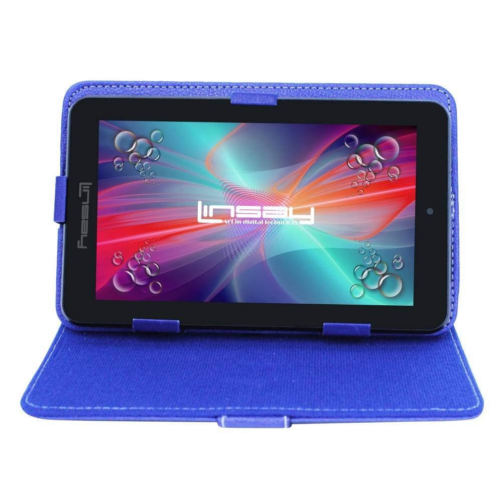 Linsay 7 HD Quad Core Dual Camera Android Tablet Bundle with Protective Case - Blue, Black
