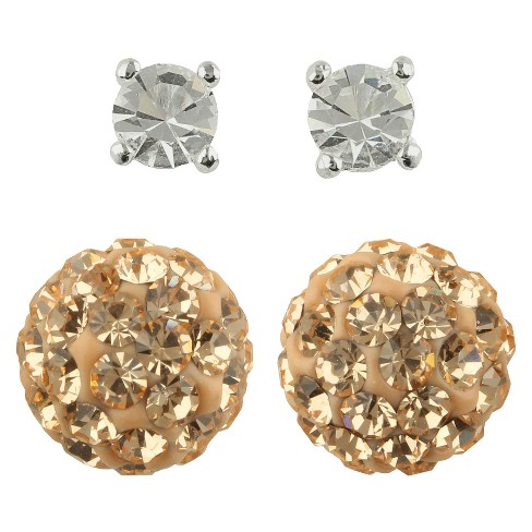 Round Post and Fireball Crystal Earrings Set of 2 - Gold - image 1 of 1