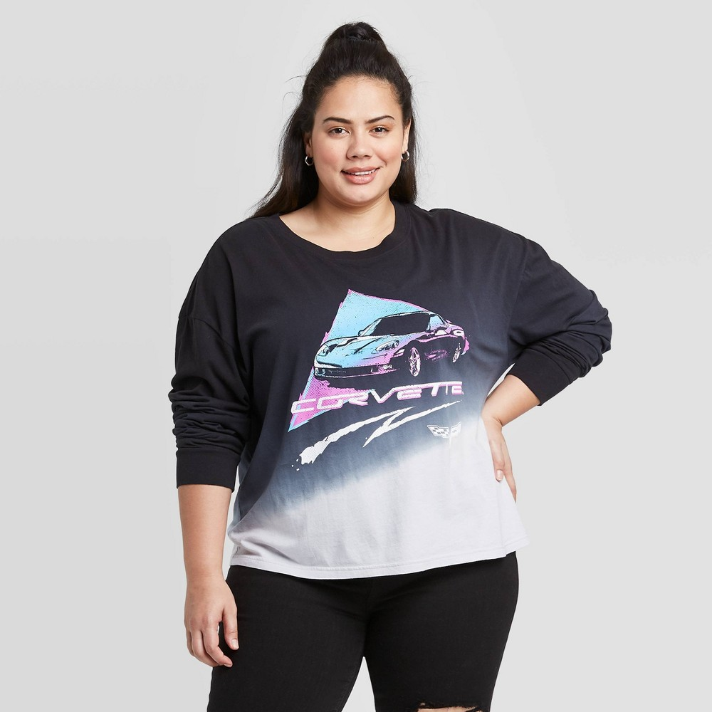 Image of Women's Corvette Plus Size Long Sleeve Cropped Graphic T-Shirt (Juniors') - Pink 1X, Women's, Size: 1XL, Black