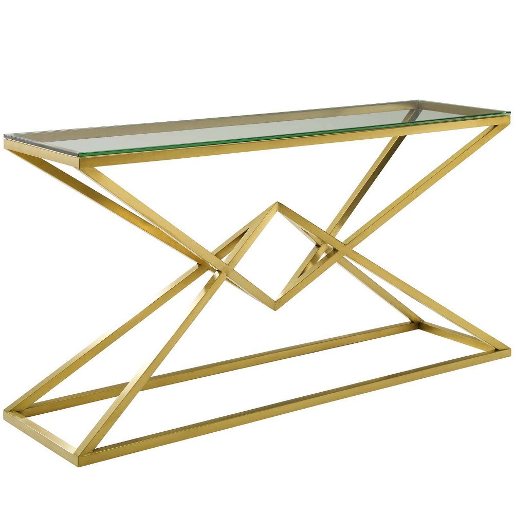 "Image of ""59"""" Point Brushed Gold Metal Stainless Steel Console Table Gold - Modway"""