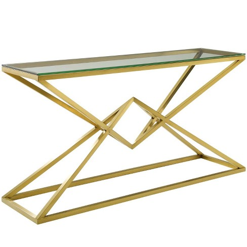 """59"""" Point Brushed Gold Metal Stainless Steel Console Table Gold - Modway - image 1 of 4"""