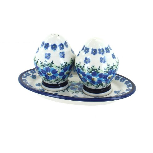 Blue Rose Polish Pottery Kalina Salt & Pepper Shakers with Plate - image 1 of 1