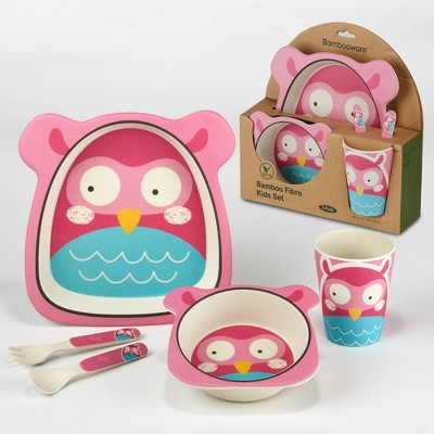 5pc Bamboo Kids Owl Dinnerware Set Pink - Certified International