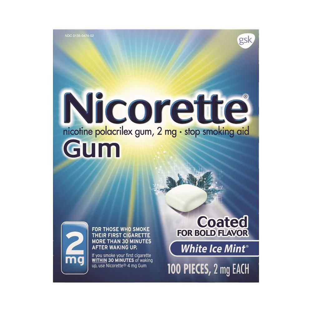 Nicorette 2mg Stop Smoking Aid Nicotine Gum - White Ice Mint - 100ct