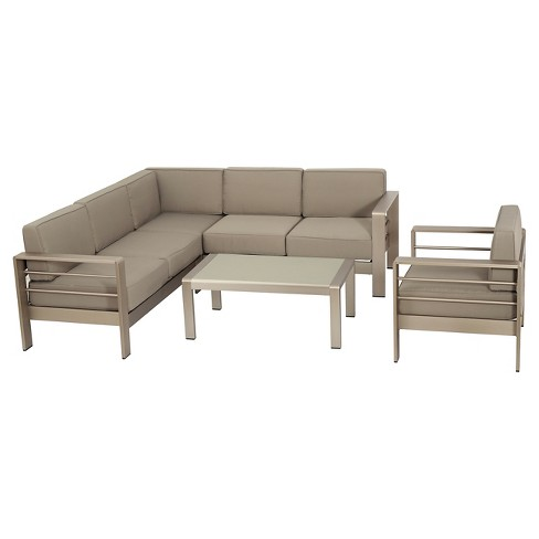 Cape C 5pc Aluminum Sofa Set With Cushions Khaki Christopher Knight Home