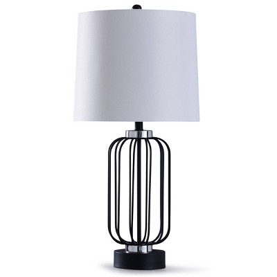 Dayton Caged Wire Table Lamp with Tapered Drum Shade Black - StyleCraft