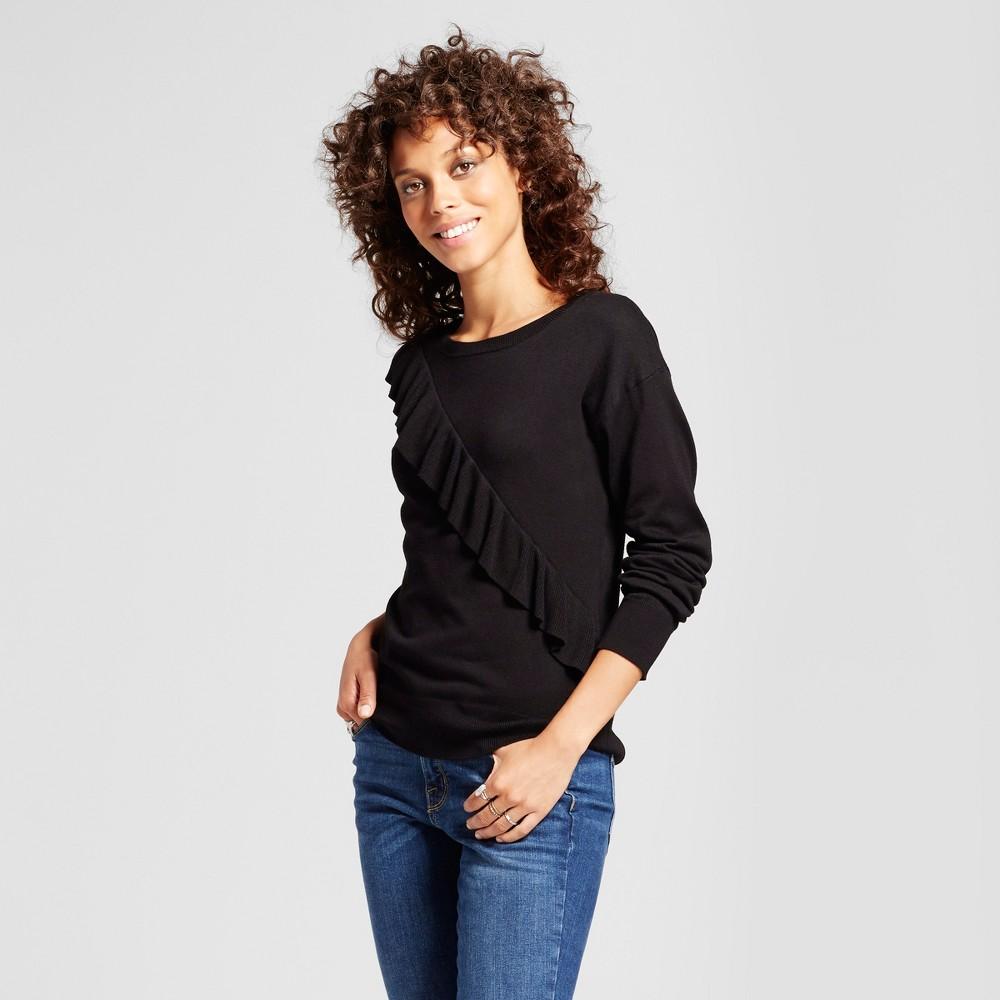 Women's Asymmetrical Ruffle Crew Neck Pullover - Alison Andrews Black S