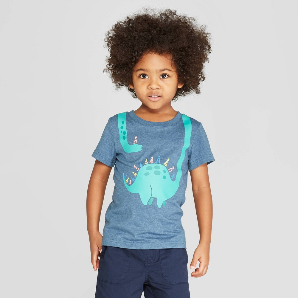 Toddler Boys' Short Sleeve Birthday Dinosaur Hat Graphic T-Shirt - Cat & Jack Blue 5T