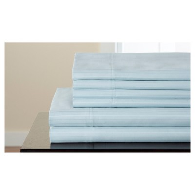 Valencia Stripe Cotton Rich 6pc Sheet Set 800TC (Queen)Blue
