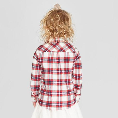 f0b70d1f Toddler Girls' Long Sleeve Flannel Button-Down Shirt - Cat & Jack™ Cream/Red