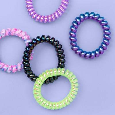 Girls' 5pk Holo Phone Cord Hair Ties - More Than Magic™