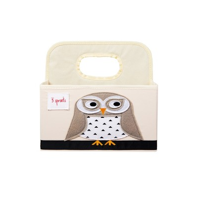 3 Sprouts Diaper Caddy Snowy Owl - Brown Velvet