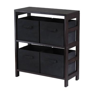 5pc Capri Set Storage Shelf with Folding Fabric Baskets Espresso Brown - Winsome