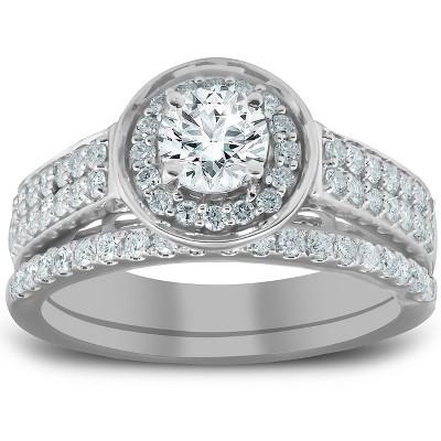 Pompeii3 1 1/4 Ct Diamond Halo Double Band Engagement Ring & Wedding Band Set White Gold