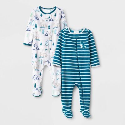 Baby Boys' 2pc Penquin Fleece Sleep N' Play - Cloud Island™ Blue 0-3M
