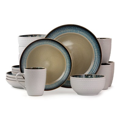16pc Stoneware Blue Sugar Dinnerware Set - Elama