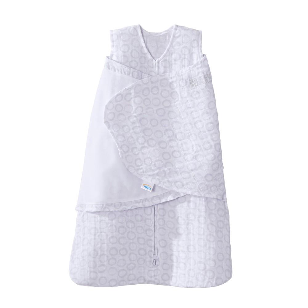 Halo Sleepsack Swaddle 100% Cotton Muslin Circles - Gray - NB