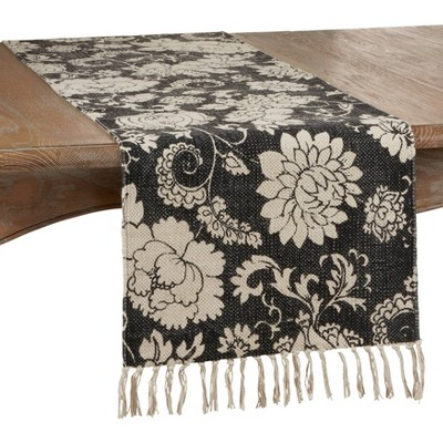 """72"""" x 16"""" Cotton Fringed Floral Table Runner Black - Saro Lifestyle"""