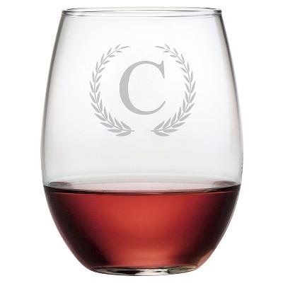 Susquehanna 21oz Glass Wreath Monogram Stemless Wine Glasses - C - Set of 4
