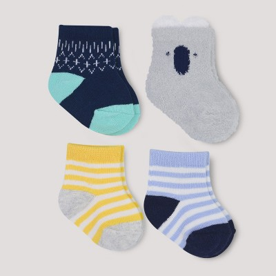 Baby Boys' Gone Wild 4pk Socks - Cloud Island™ Gray 0-6M