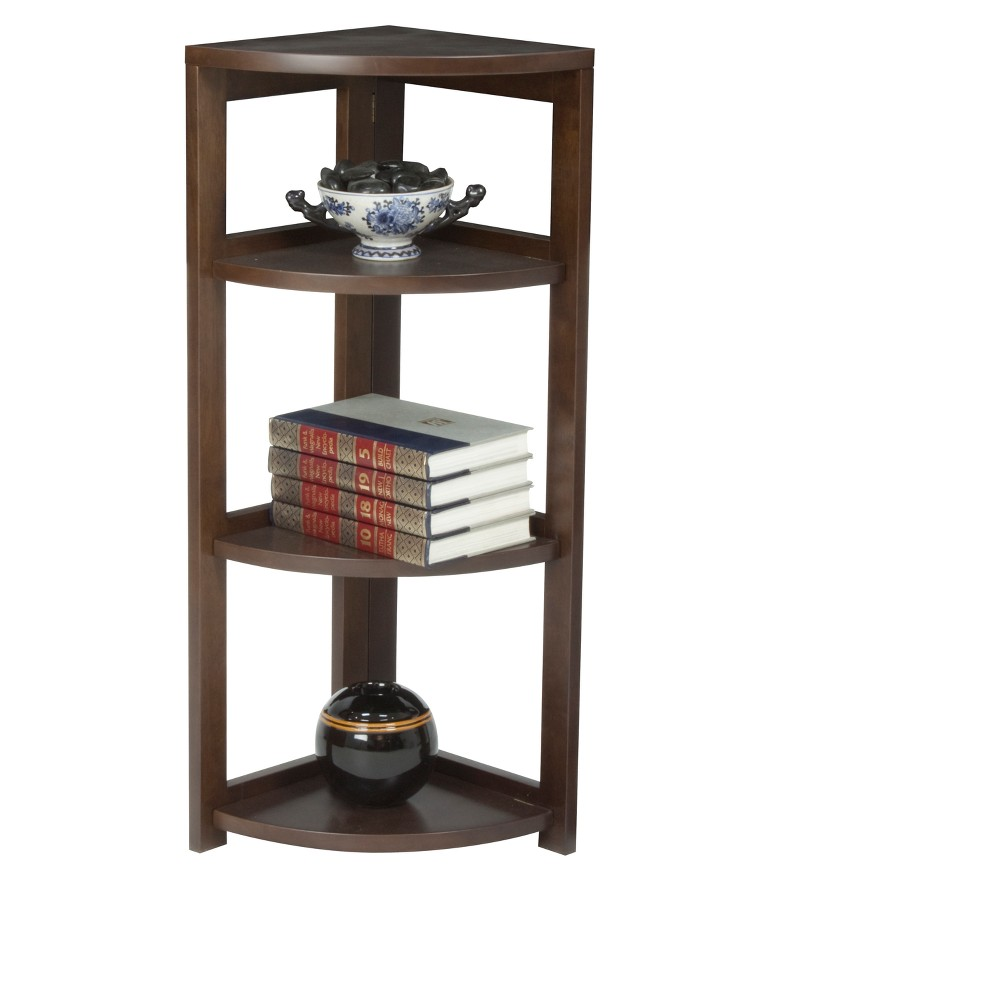 "Image of ""Flip Flop 34"""" High Corner Folding Bookcase Mocha Walnut - Niche, Brown"""