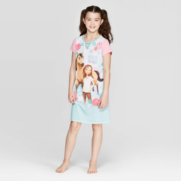 Girls' Spirit Riding Free Dorm Nightgown - Pink/Blue - image 1 of 3
