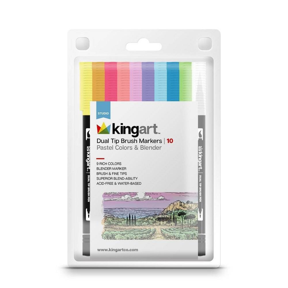 Image of Kingart 10ct Dual Tip Brush Markers - Pastel