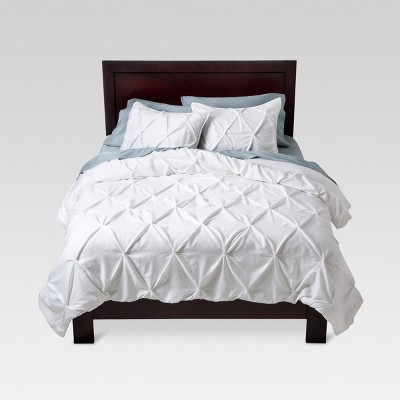 White Pinched Pleat Duvet Cover Set (Full/Queen) 3 Piece