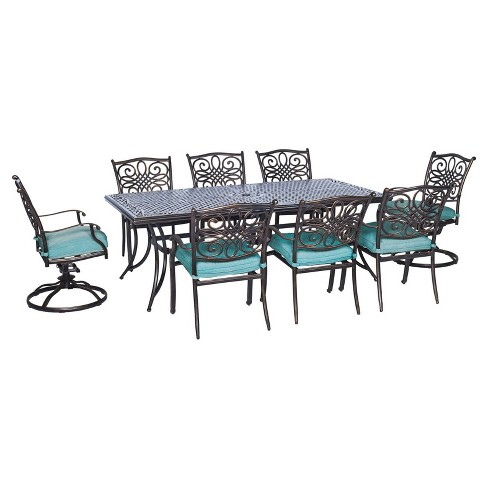 Traditions 9pc Rectangle Metal Patio Dining Set - Blue - Hanover - image 1 of 9